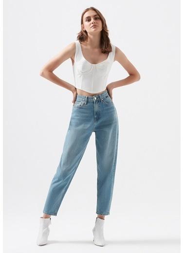 Mavi Layla Eskitilmiş  Mavi Jean Pantolon Mavi